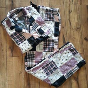 Victoria's Secret Patchwork Flannel Pajamas (Long)